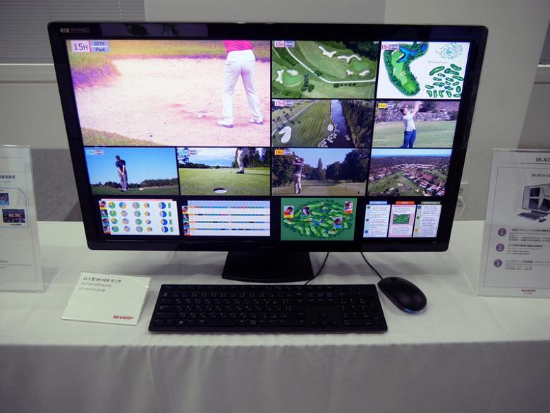 Sharp показала экран диагональю 31,5 дюйма разрешением 8К с кадровой частотой 120 Гц