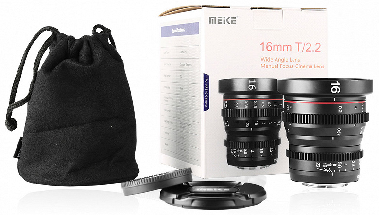 Объектив Meike 16mm T2.2 с ручной фокусировкой предназначен для видеосъемки камерами системы Micro Four Thirds