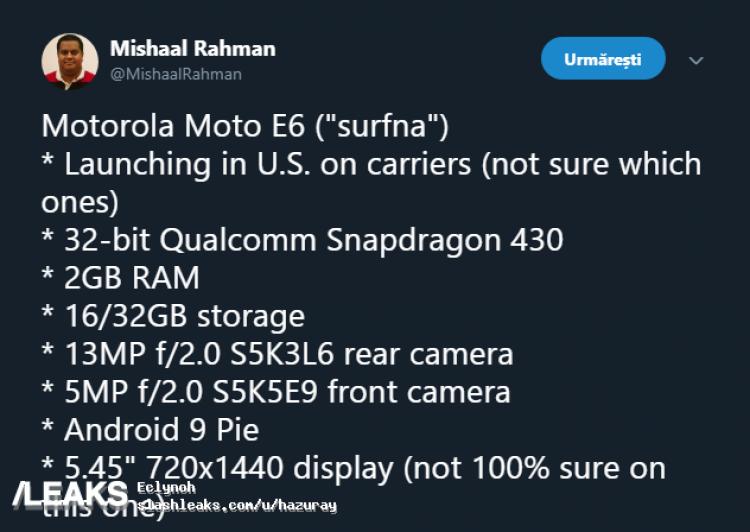 К выходу готовится дешевый смартфон Moto E6