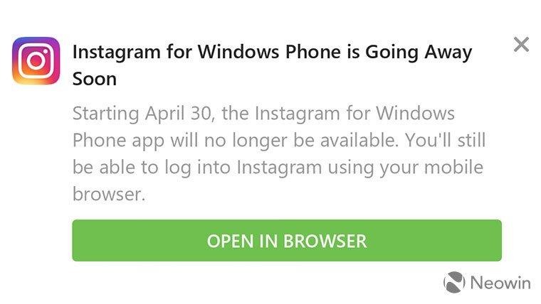 Instagram прощается с Windows 10 Mobile. Поддержка будет прекращена 30 апреля