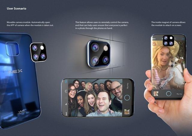 Это действительно похоже на революцию в дизайне. Камеру Vivo NEX 2 можно будет отсоединять и крепить на металлических поверхностях или экране смартфона