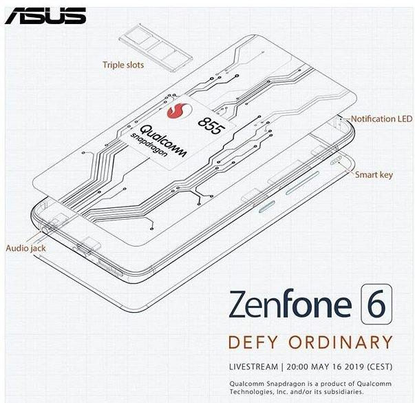 Флагман мечты? Asus ZenFone 6 получит экран без вырезов, Snapdragon 855, разъем 3,5 мм, тройную камеру с датчиком 48 Мп и аккумулятор емкостью 5000 мА·ч