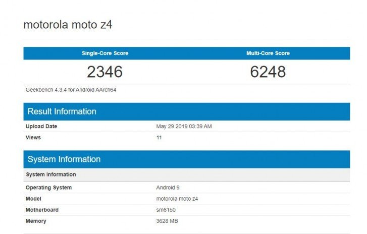 Moto Z4 протестирован в Geekbench
