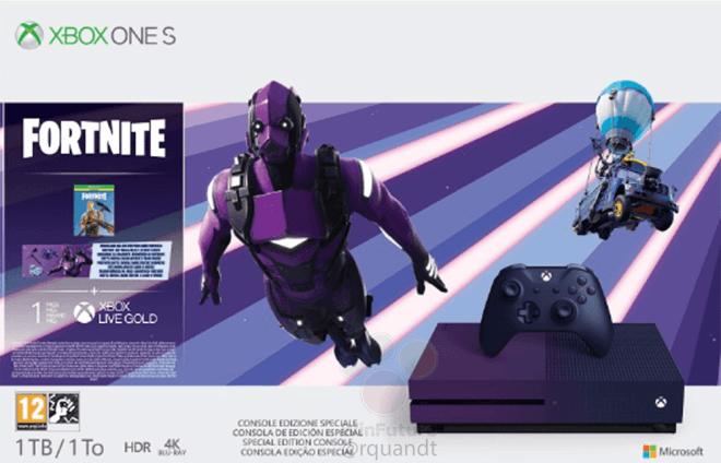 Фиолетовая консоль Xbox One S Fortnite Limited Edition с таким же геймпадом показаны на официальном изображении