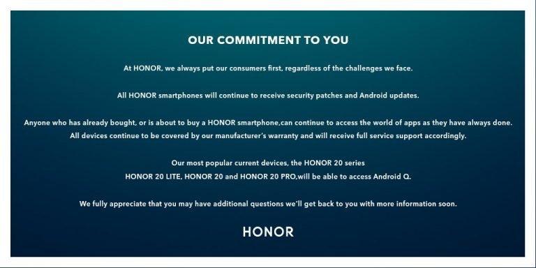 ВHonor поведали, какие модели телефонов бренда получат андроид Q