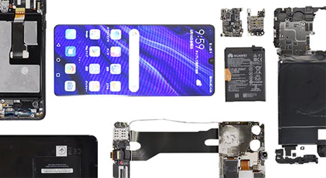В телефоне Huawei P30 Pro практически ненашлось компонентов изсоедененных штатов