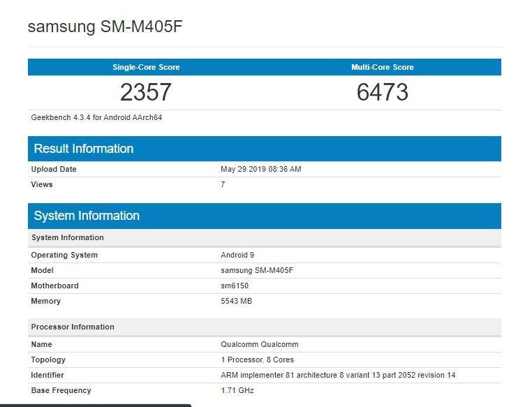 Samsung Galaxy M40 показал возможности в Geekbench