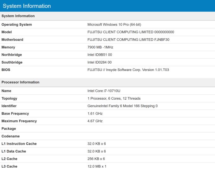 6 ядер, 12 потоков и частота почти 5 ГГц: в Сети засветился мобильный процессор Intel Core i7-10710U (Comet Lake-U)