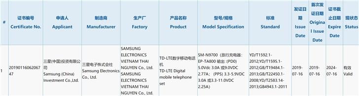 Samsung Galaxy Note10 сертифицирован в Китае, он поддерживает быструю зарядку мощностью до 25 Вт