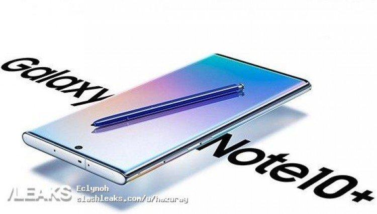 Официальное изображение Samsung Galaxy Note10+ с нестандартного ракурса