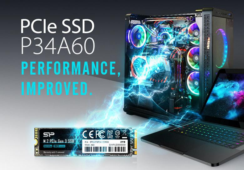 Твердотельный накопитель Silicon Power P34A60 типоразмера M.2 демонстрирует скорость чтения до 2200 МБ/с