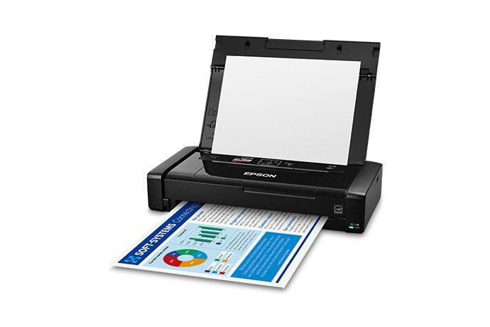 Производитель называет Epson WorkForce WF-110 самым легким и маленьким цветным мобильным принтером