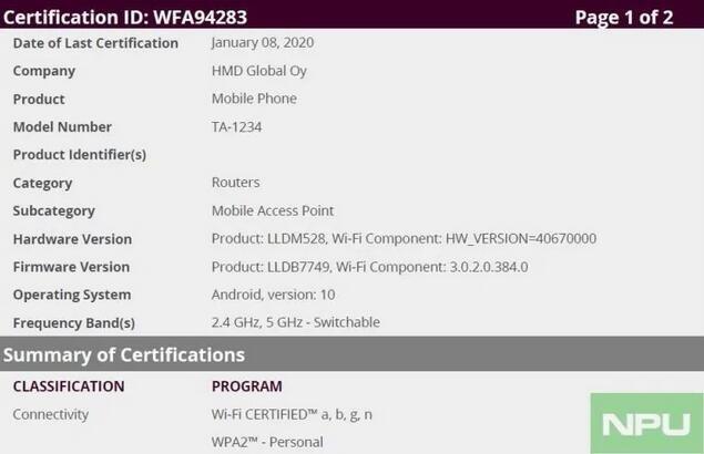 Сертифицирован первый смартфон Nokia с предустановленной Android 10