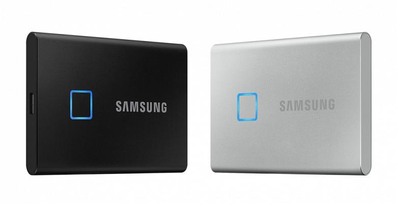 Портативный SSD Samsung T7 Touch получил сканер отпечатков пальцев и максимальную скорость 1050 МБ/с