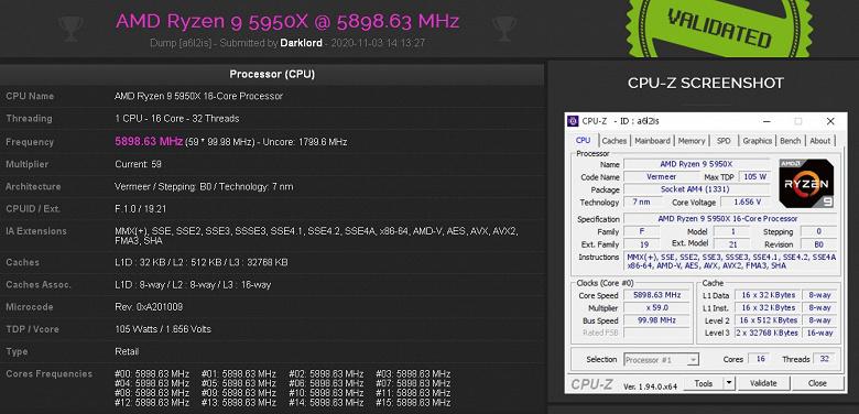Самый производительный обычный потребительский процессор демонстрирует отличные показатели разгона. Первый результат Ryzen9 5950X — 5,9 ГГц