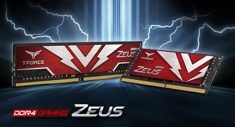 Модули памяти TeamGroup T-Force Zeus DDR4 U-DIMM и SO-DIMM украшены молниями
