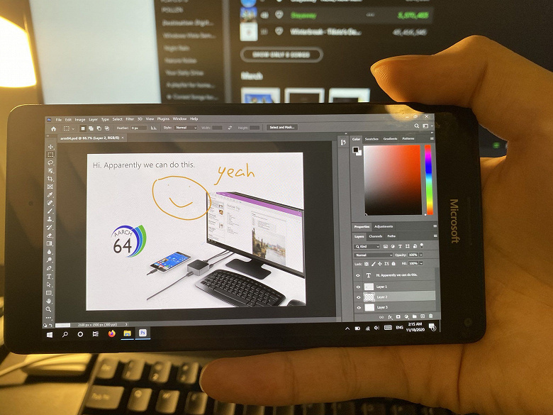 На древнем Microsoft Lumia 950 XL работает настольная версия Photoshop