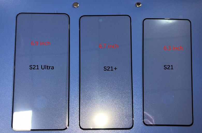 Первое фото позволяет сравнить размеры Samsung Galaxy S21, Galaxy S21+ и Galaxy S21 Ultra