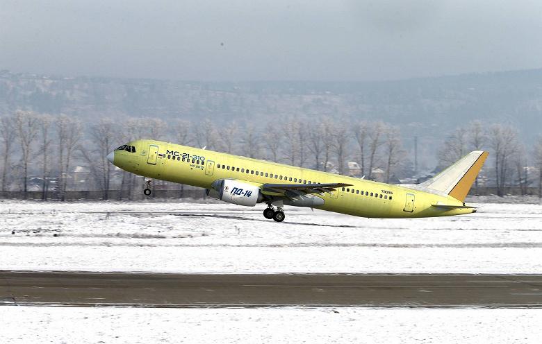 Состоялся первый полёт самолета МС-21-310 с российскими двигателями ПД-14
