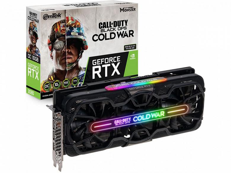 Представлены видеокарты Emtek GeForce RTX 3080 и RTX 3070 HV Black Monster COD Edition