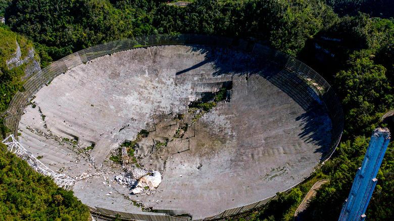 Видео обрушения конструкции радиотелескопа «Аресибо»