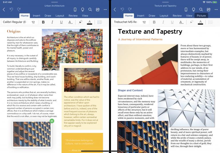 Word и PowerPoint для iPadOS преобразились. Новая функция позволяет открывать два документа одновременно