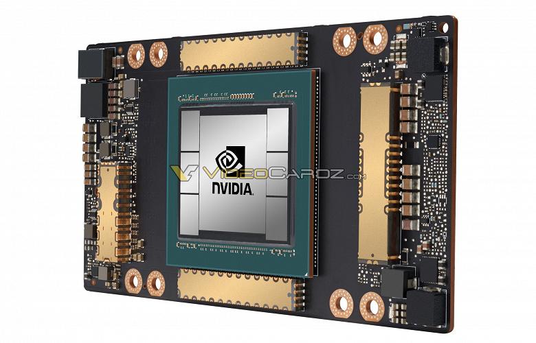 Чудовищный графический процессор Nvidia GA100 поколения Ampere впервые появился на изображении