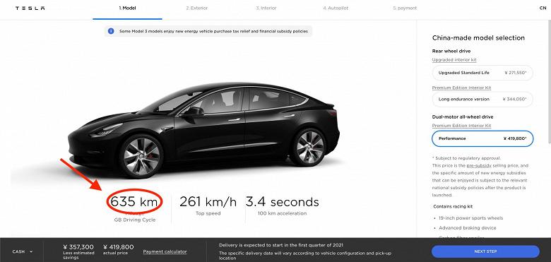 Китайская Model 3 Performance получилась очень «дальнобойной». Запас хода указан равным 635 км