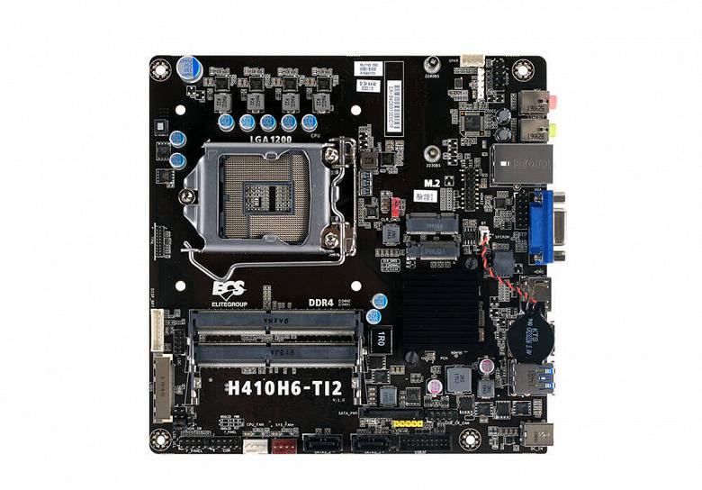 Низкопрофильная системная плата ECS H410H6-TI2 подходит для процессоров Intel Core 10-го поколения