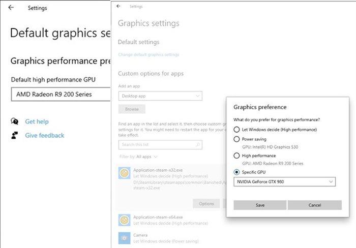 В Windows 10 можно вручную выбрать видеокарту для ресурсоемких приложений