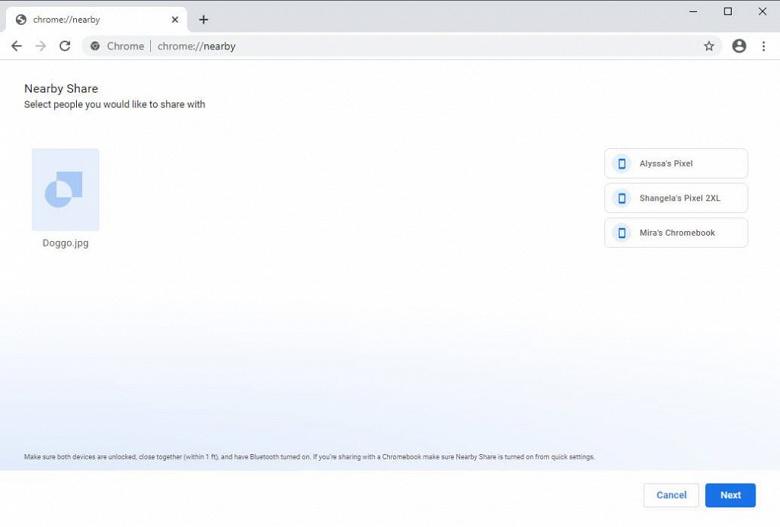 В Windows 10 начинает работать аналог AirDrop. Google запускает Nearby Share в браузере Chrome