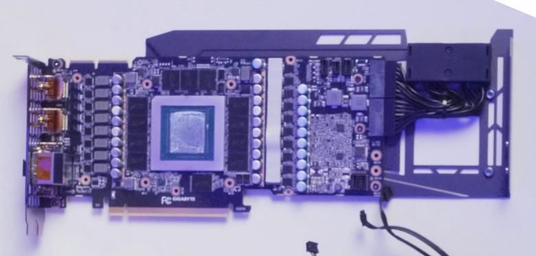 Так выглядит «обнажённая» нереференсная GeForce RTX 3090. Gigabyte не стала создавать для неё отдельную печатную плату