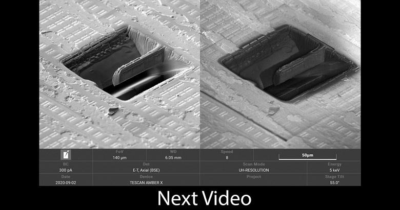 Энтузиаст сравнил под электронным микроскопом микросхемы, изготовленные Intel по нормам 14 нм, и TSMC — по нормам 7 нм