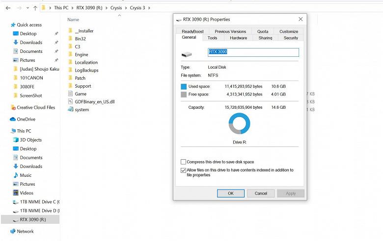 Владелец GeForce RTX 3090 установил Crysis 3 в память видеокарты, создав там раздел NTFS