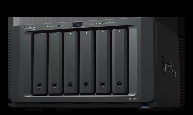 Основой сетевого хранилища Synology DS1621+ с шестью отсеками служит четырехъядерный процессор AMD Ryzen