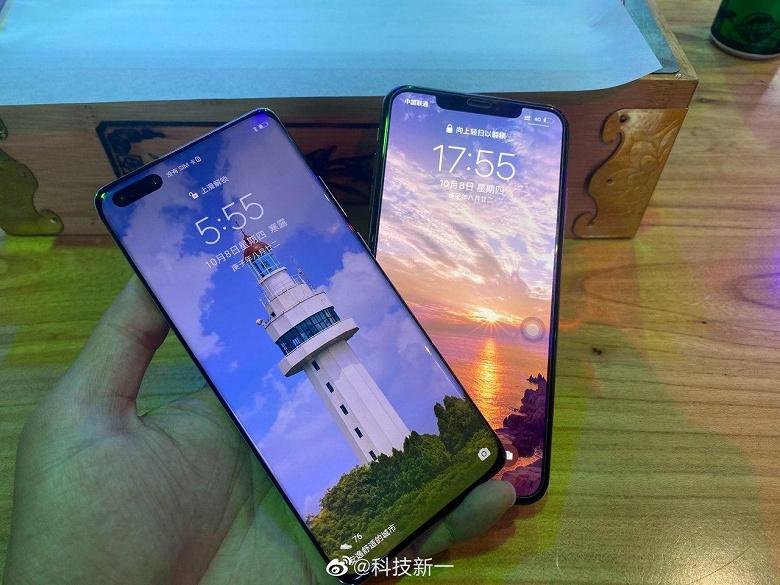 Включённые iPhone 12 и Huawei Mate 40 Pro на одной фотографии