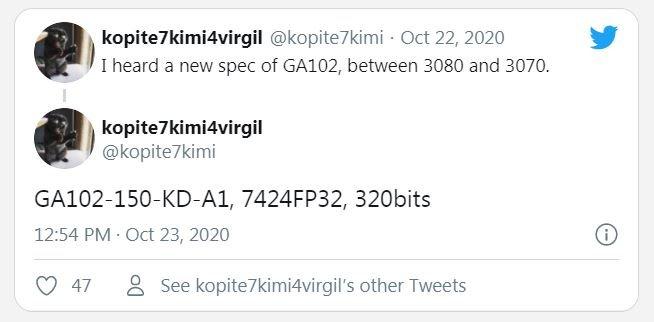 Nvidia приписали намерение заполнить промежуток между RTX 3070 и RTX 3080