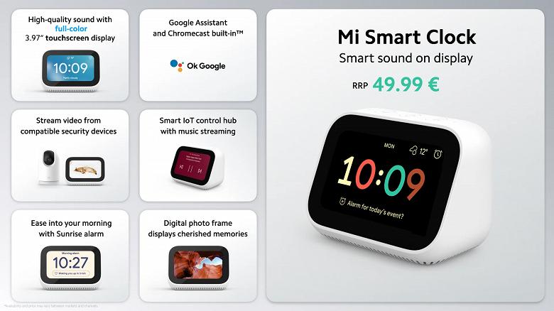 Xiaomi выпустила умные часы Mi Smart Clock в Европе