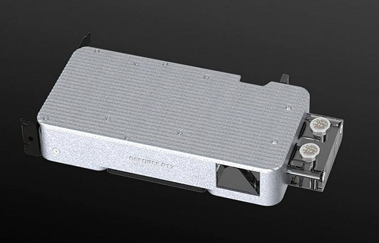Водоблок Bitspower Mobius для видеокарты GeForce RTX 3080 FE внешне напоминает штатную систему охлаждения