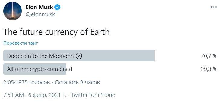 Илон Маск агитирует за Dogecoin – «будущую валюту Земли»