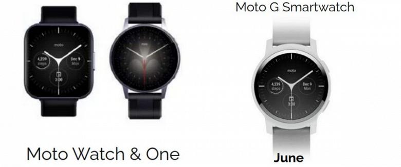 Snapdragon Wear 4100, Wear OS и три разные модели: умные часы Moto G Smartwatch, Moto Watch и Moto Watch One на первых изображениях