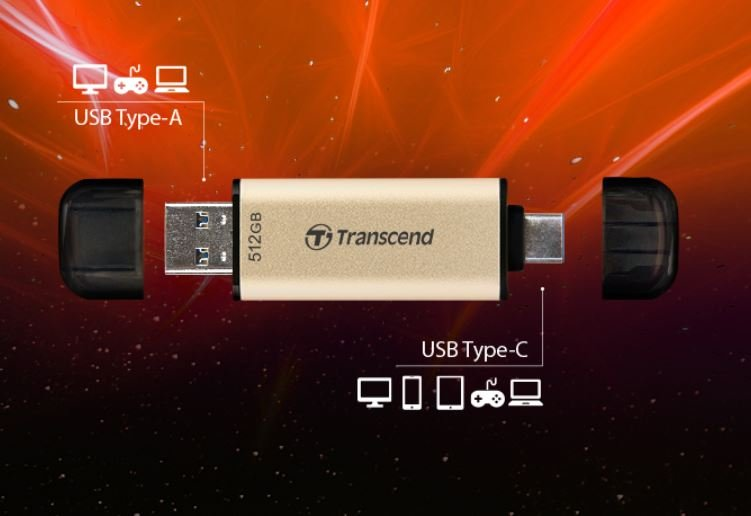 Флеш-накопитель Transcend JetFlash 930C оснащен разъемами USB Type-A и USB Type-C