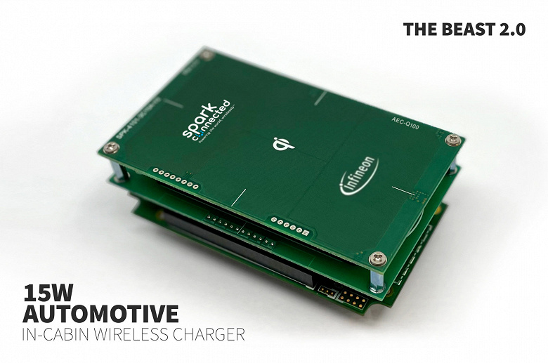 У Spark Connected готова первая в отрасли беспроводная зарядка мощностью 15 Вт, предназначенная для установки в автомобиле
