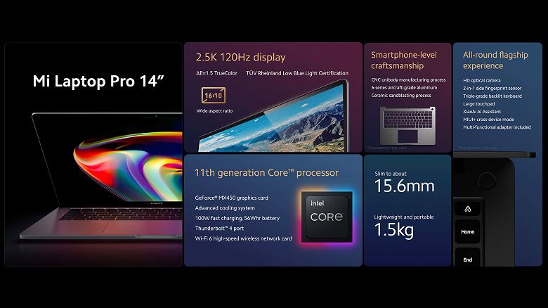 Представлен ноутбук Xiaomi Mi Laptop Pro с ЖК-экраном, 120 гц и 100-ваттной зарядкой