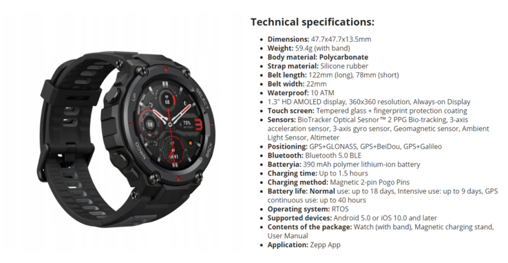 Экран AMOLED, GPS, датчик ЧСС, пульсоксиметр, до 18 дней автономной работы за 14500 рублей. Это защищенные умные часы Amazfit T-Rex Pro