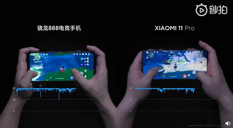Xiaomi показала, как Xiaomi Mi 11 Pro справляется с играми и соперниками по Snapdragon 888