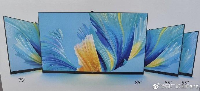 85, 75, 65 и 55 дюймов. Новые телевизоры Huawei с ультратонкими рамками и выдвижной камерой запечатлели на рекламном постере