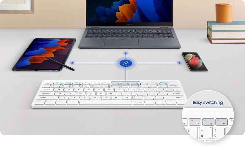 Клавиатура Samsung Smart Keyboard Trio 500 позволяет работать с тремя различными устройствами