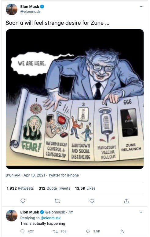 Илон Маск удалил карикатуру на Билла Гейтса, намекающую на чипирование