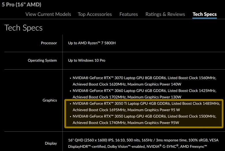 Lenovo раскрыла характеристики мобильных GeForce RTX 3050 Ti и RTX 3050
